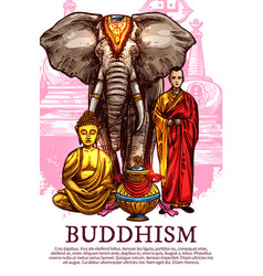 Buddha monk vase and elephant vector