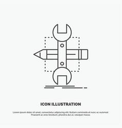 Build design develop sketch tools icon line gray vector