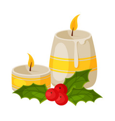 candles and holly berry mistletoe christmas and vector image