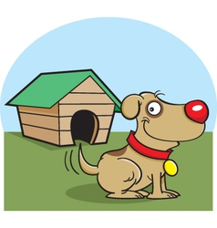Cartoon Dog with a Dog House vector image