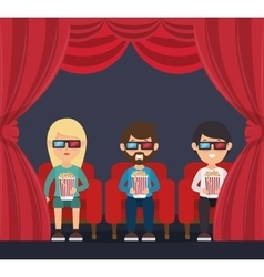 Character man sitting watch 3d movie with pop corn vector