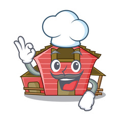 Chef a red barn house character cartoon vector