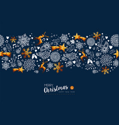 Christmas and new year holiday gold greeting card vector