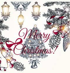 christmas hand drawn card with fur branches vector image