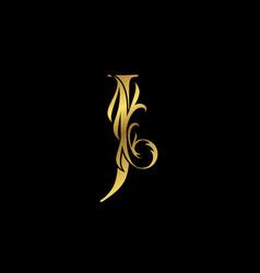 Classy elegant gold j letter floral logo vintage vector