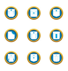 Closed pocket icons set flat style vector