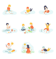 collection of boys and girls sitting on floor vector image