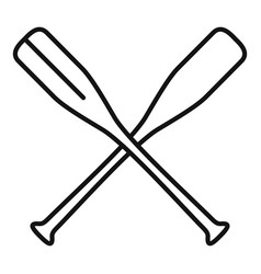 Crossed wood paddle icon outline style vector