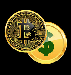 Crypto currency bitcoin beats dollar concept vector