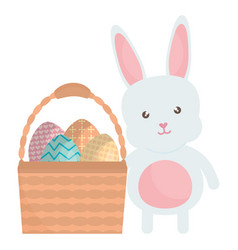 cute rabbit with easter eggs painted in basket vector image