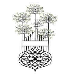 design element vintage trees vector image