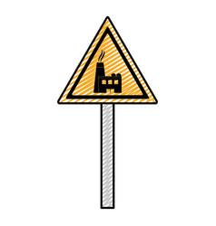 Doodle triangle caution emblem factory pollution vector