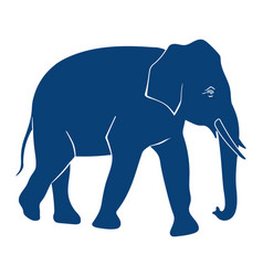 elephant silhouette on white background side view vector image