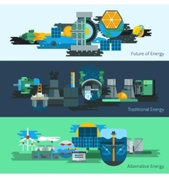 Energy production banner set vector