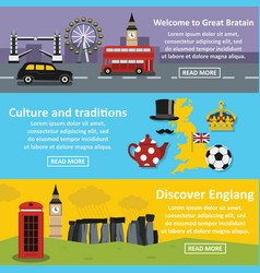 England travel banner horizonatal set flat style vector