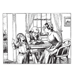 Family at table woman vintage engraving vector