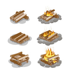 Firewood lighted and unlighted fire vector