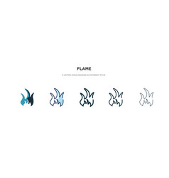 Flame icon in different style two colored and vector
