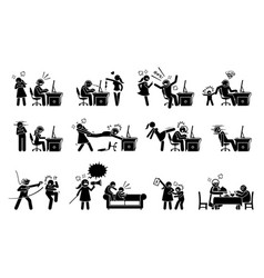 Gaming disorder and gaming addiction stick figure vector