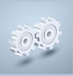 Gears 3d icon vector