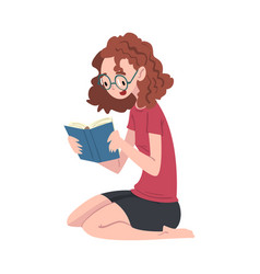 girl in glasses reading book sitting on floor vector image
