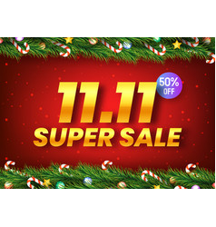 golden november 11 super sale shopping day with vector image