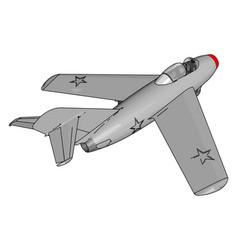 Grey jet plane with three stars on white vector