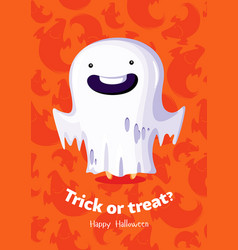 halloween poster trick or treat with ghost vector image