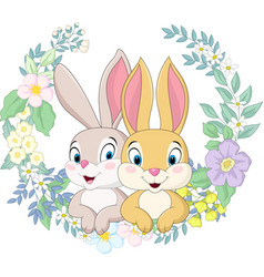 happy couple rabbit with flowers background vector image
