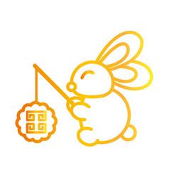 happy mid autumn festival cute rabbit vector image