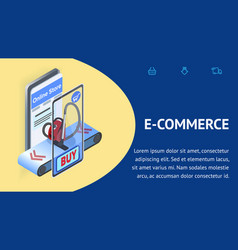 Household shop ecommerce isometric banner template vector