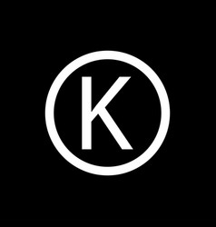 Letter k in circle sign the common meaning the vector
