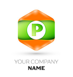 Letter p logo in the colorful hexagonal vector
