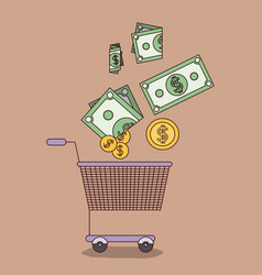 Light brown color background with shopping cart vector