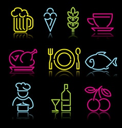 Line food icons vector