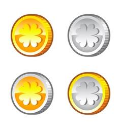 Lucky clover coins vector