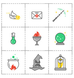 Magic icon set wizard equipment vector