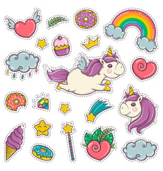 Magic wand unicorn rainbow sweets ice cream vector