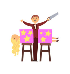 magician sawed assistant body into two halves vector image