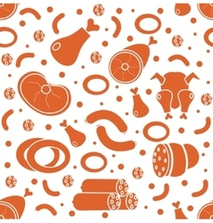 Meat products seamless pattern flat style Meats vector image
