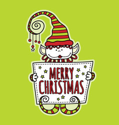 Merry Christmas Elf Holding Sign Bright Green vector image