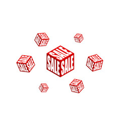 modern sales icon flat cube isometric sale banner vector image