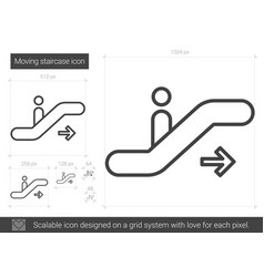 Moving staircase line icon vector
