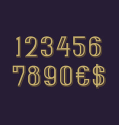 Numbers with dollar and euro symbols in artdeco vector