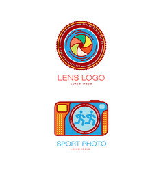 Photo camera icon set isolated vector
