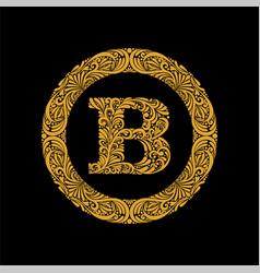 Premium elegant capital letter b in a round frame vector