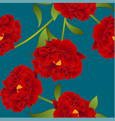 Red peony flower on teal indigo background vector