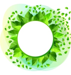 Round blank frame with green leaves vector