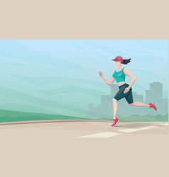 Running woman on cityscape background vector