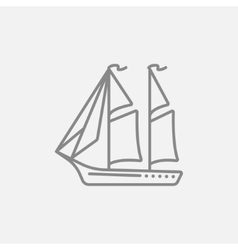 Sailboat line icon vector